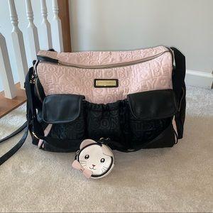 Betsey Johnson weekender travel tote pink/black